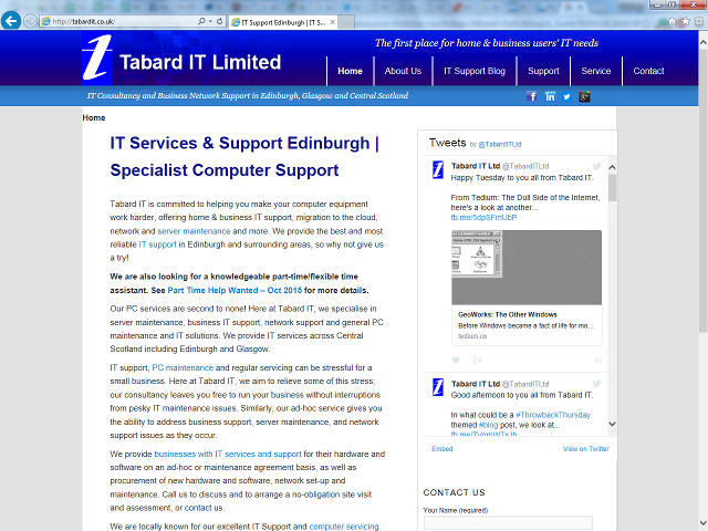 Tabard IT on Internet Explorer, now runner-up to Google Chrome.