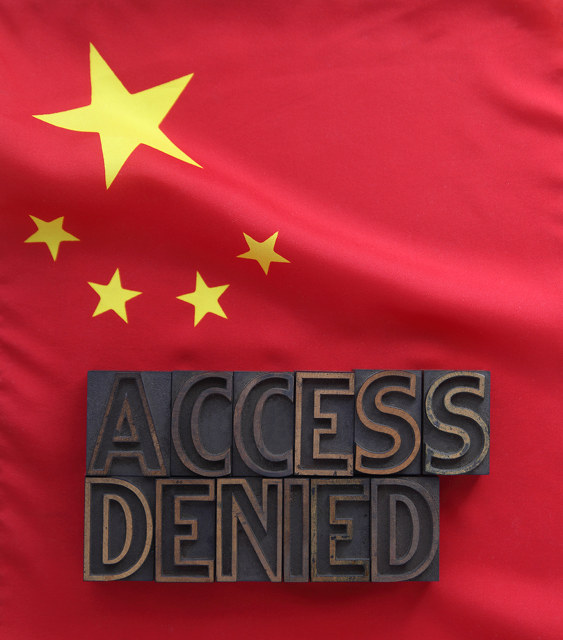 Chinese censorship image by Alice Day (via Shutterstock).
